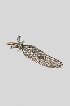 Antique Silver, 18k & Diamond Feather Pin