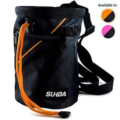 Sukoa Chalk Bag for Rock Climbing - Bouldering Chalk Bag Bucket with Quick-Clip Belt and 2 Large Zippered Pockets - R. Climbing Chalk Bag, Rock Climbing Gear, Workout Belt, Travel Yoga Mat, Best Bags, Kids Bags, Bouldering, Golf Bags, Zipper