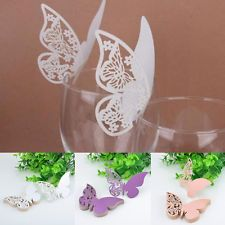 50X Butterfly Craft Place Escort Paper Card Wine Glass Decor For Wedding Party