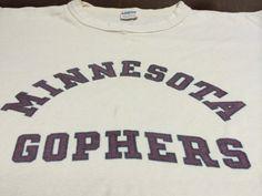 0122f49f1 Vintage MINNESOTA GOPHERS Shirt 70s Jersey/ Champion Blue Bar University of  Minnesota 3/4 Sleeves Tshirt/ College Sports Baseball UsA