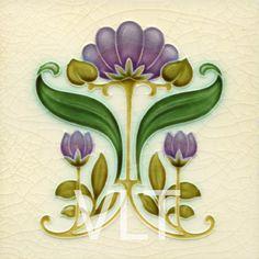 Cerámica que reproduce un motivo floral Art Nouveau (Villa Lagoon Tile | Mosaic Cement Tile)