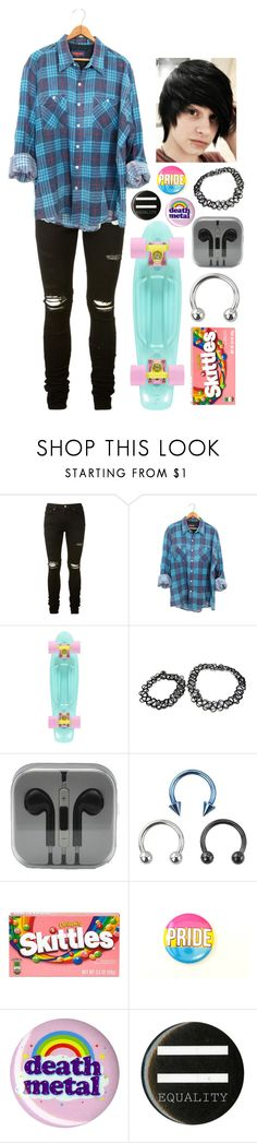 """""""Low-key Pan Skater Boy"""" by spnlex ❤ liked on Polyvore featuring AMIRI and River Island"""