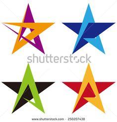"Star vector design logo template. ""A"" letters icon set. - stock vector"