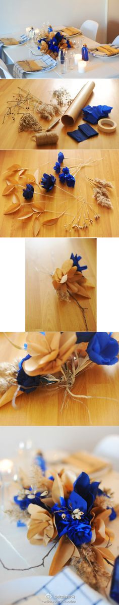 Table decor made of brown paper, blue crepe paper, twine and natural grasses.