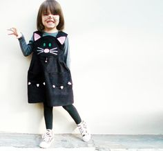 Girls black cat dress by wildthingsdresses on Etsy, $60.00