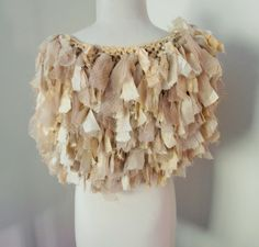 cream beige tattered recycled sari silk scarf collar by plumfish