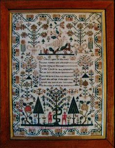 This is Jane Philpott's sampler. I own her sampler and her sister's sampler from the same year. I have reproduced this sampler, and it turns out GORGEOUS. The entire thing is stitched in silk, and Jane did a fabulous job with her needlework. Love that snake 'round the tree and that beautiful dove at the top. http://shakespearespeddler.blogspot.com/2009/10/jenny-beans-christmas-and-adam-eve.html