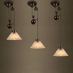 Vintage 1 Light Pendant with Cone Ribbed Glass. $139 each