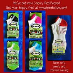 We've added Cherry Red to our Ecosox collection! Super soft bamboo makes these socks comfy, moisture wicking, and they help prevent blisters! Yay! Find them at www.barefootac.com!