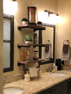 36 Super easy how to make DIY industrial pipe shelves Industrial Style Furniture, Industrial Pipe Shelves, Industrial Home Design, Industrial House, Industrial Bathroom, Pipe Shelving, Iron Pipe Shelves, Shelves With Pipes Diy, Rustic Shelves