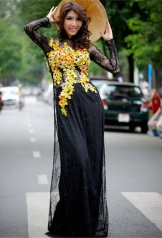 STONE LACE LONG DRESS - RD009 Wearing an Ao Dai and walking in the street, brilliant | http://aodai864.blogspot.com