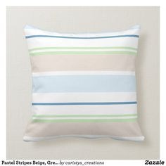 Pastel Stripes Beige, Green, Blue, White Throw Pillow White Throws, White Throw Pillows, Blue Pillows, Shades Of Light Blue, Cottage Living, Contemporary Decor, Green Stripes, Custom Pillows, Baby Shop