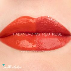 Compare Habanero vs. Red Rose LipSense using this photo. Habanero is part of the Fiesta LipSense Collection by SeneGence.