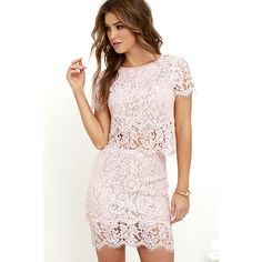 Turn Back Time Blush Pink Lace Two-Piece Dress ($62) ❤ liked on Polyvore featuring dresses, pink, long dresses, short sleeve lace dress, lace overlay dress, 2 piece lace dress and pink lace dress