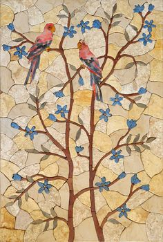 Birds ON Trees Mosaic Stone Art