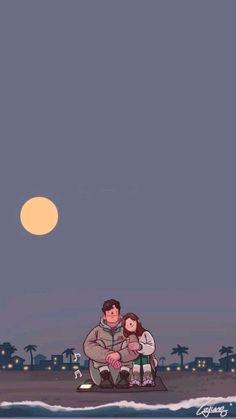 Love Cartoon Couple, Cute Couple Comics, Cute Couple Art, Paar Illustration, Couple Illustration, Arte Indie, Cute Couple Drawings, Cute Couple Wallpaper, Cute Love Pictures