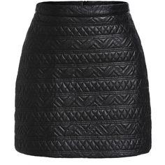 Geometric Pattern PU Skirt ($20) ❤ liked on Polyvore featuring skirts, saia, bottoms, faldas, black, bodycon skirt, geometric skirt, body con skirt, geometric print skirt and short skirts