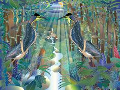 Two Tiger Herons from Nature Maestro Rainforest Night. Herons, Biomes, Wildlife, Earth, Night, Illustration, Nature, Animals, Beautiful