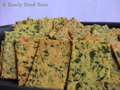 Easily Good Eats: Spinach Polenta Chili Crackers Recipe