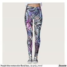 Purple blue watercolor floral hand drawn pattern leggings