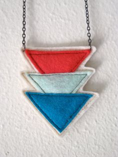 Triangle Necklace multicolor geometric fiber by corrieberrypie