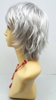 Blonde Hair Color Ideas For Summer Discover Short Layered Wind Blown Shag Style Silver Cosplay Wig. Short Shag Hairstyles, Short Layered Haircuts, Short Hairstyles For Women, Black Hairstyles, Stylish Short Haircuts, Korean Hairstyles, Celebrity Hairstyles, Hairstyles Haircuts, Hairstyles For Over 50