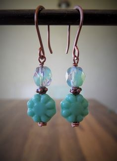 Peppermint Green Flower Czech Glass Antique Copper by MyCrafeteria