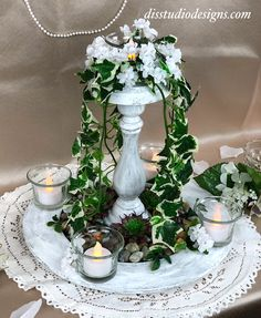 New! Fountain Oasis Decorative Candleholder Centerpiece by Di's Studio Designs. Perfect table centerpiece for wedding or special event! Now available at disstudiodesigns.com. #eventdecor #seasonaldecor #handcrafted #fauxflorals #weddingdecor #tablecenterpiece Wedding Table Centerpieces, Wedding Reception Decorations, Table Decorations, Candle Holder Decor, Candles And Candleholders, Event Decor, Seasonal Decor, Oasis, Fountain