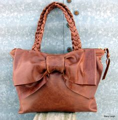 2014+Leather+Bow+Petite+Satchel+Bag+in+Harness+Brown+by+stacyleigh,+$315.00