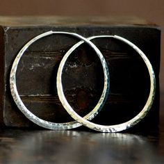 2 inch hammered sterling silver hoop earrings, large endless style hoop, 925 silver hoop earring, eco friendly jewelry