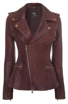 Oxblood Leather Asymmetric Zip Biker Jacket