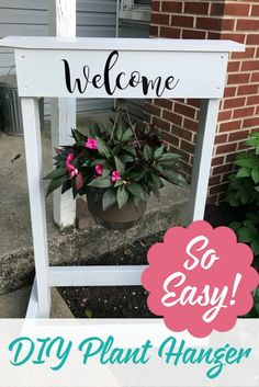 This adorable welcome sign is a great weekend project, and it's a fun Cricut project! It's not too complicated and a DIY plant hanger makes a lovely addition to the front yard, porch, or give it as a gift!