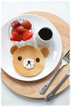 A cute lil' bear face requires minimum effort.   18 Easy Creative Pancake Recipes On Pinterest