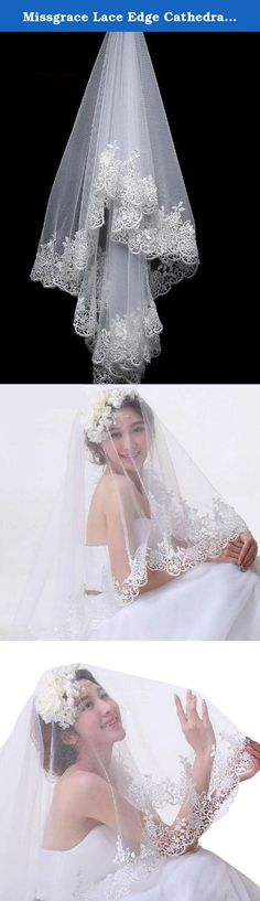 Missgrace Lace Edge Cathedral Length Long Bridal Wedding Bridal Veil+Comb (White). Gorgeous Blusher veils Easy to attach to the hair through a comb. This veil is the perfect complement to any gown, with looks ranging from simply elegant to ultra-glamorous. Just think of the dramatic image created when the light, flowing fabric catches the wind. This beautiful wedding veil suits all brides well. This veil completes the look that you are looking for on the biggest day of your life. Brand…