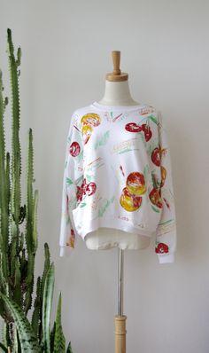 90s fruit top. 80s slouchy fruit salad top. Kawaii sweater. White fruit…