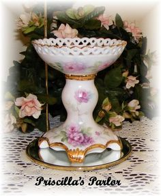 painted roses on porcelain candle holder w/gold trim