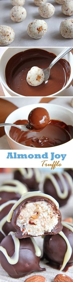Truffles that tastes just like the Almond Joy candy bar! Your family and friends are sure to love them. Truffles that tastes just like the Almond Joy candy bar! Your family and friends are sure to love them. Fudge, Yummy Treats, Sweet Treats, Yummy Food, Just Desserts, Dessert Recipes, Weight Watcher Desserts, Homemade Candies, Homemade Truffles