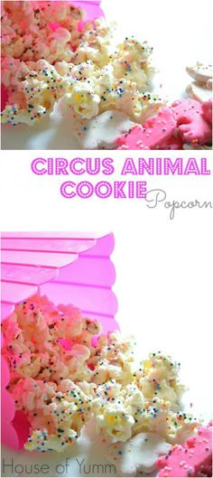 Circus Animal Cookie Popcorn is the perfect fun snack idea to brighten up anyone's day. These would be perfect for a circus themed birthday party too! Yummy Treats, Delicious Desserts, Sweet Treats, Yummy Food, Fun Food, Sweet Desserts, Popcorn Recipes, Snack Recipes, Appetizer Recipes