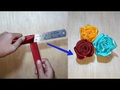 Amazing ribbon flower trick /easy rose making with scale / ribbon rose flower craft ideas - YouTube Ribbon Art, Diy Ribbon, Ribbon Crafts, Flower Crafts, Ribbon Rose, Hand Embroidery Flowers, Silk Ribbon Embroidery, Hand Embroidery Designs, Simple Rose