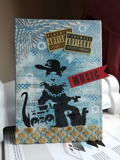 Music...5x7 canvas using stamps from BeeCrafty and Visible Image