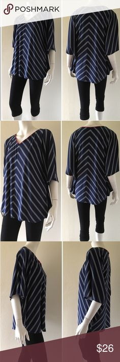 """Susan Graver Dolman Sleeves Top #164-4 Light and breezy Susan Graver top in excellent used condition. The allover print of this pull-over top is complemented by batwing sleeves. Wear it over solid slacks or jeans to look effortlessly chic. Fit: relaxed fit; generously cut with maximum wearing ease Length: 26"""", Chest 21.5"""" across  Content: Polyester/Spandex Care: Machine wash cold Made in the Philippines Susan Graver Tops Blouses"""