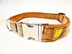 Metal Buckle Firefighter Dog Collar  Tan by rekindledpride on Etsy, $28.00