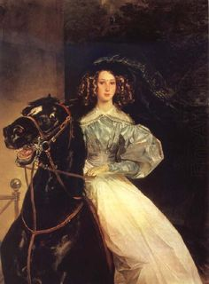 """close up of """"the rider"""" and her horse. 1832"""