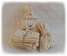 Adventskalender Säckchen, Adventskalender zum selber füllen, Leinen, Farbe: natur, 24 Stück von GislisDesign auf Etsy