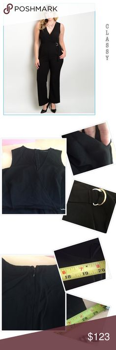 CLASSY JUMPSUIT 72% poly 25% rayon 3% spandex. Crossover style on top.  Belted. Zips in back. Pockets. This can be worn for weddings, parties, dinners, work.  1X bust 40 laying flat. Inseam is about 28.5. Pants Jumpsuits & Rompers