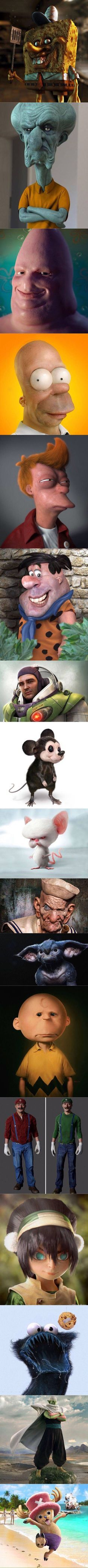 The badass version of your favourite character! <<<< dont listen to them. These are some fucking cursed images Realistic Cartoons, Funny Cartoons, Funny Memes, Best Funny Pictures, Funny Photos, Creepy, Scary, Mundo Dos Games, Really Funny