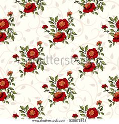 Vector seamless handdrawn pattern from dog roses blossom and fresh branches. Floral vintage background for textile or book covers, manufacturing, wallpapers, print, gift wrap and scrapbooking.