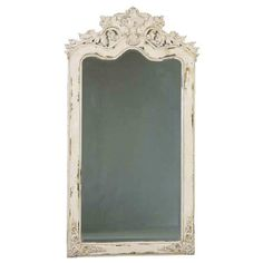 Loire vintage chic wall mirror oval french shabby wooden ...