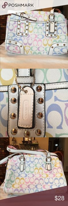 Inspired Bag Medium Inspired bag Medium sized.  Resembles Coach. White adorned with pastel c's and silver colored hardware.   Zips. Brand new. Never used. Never had a tag. Bought from a shop. I just felt it was a bit too young for me.  This may be best for a teen or preteen if appropriate. Very pretty. I may have pd $40. More pics avail. Ask ?s. Ty for looking. I just buy way too much stuff Bags Shoulder Bags