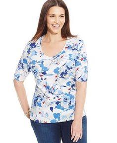 Womens Plus Size 0X NWT Karen Scott Floral Print Tee Top Shirt Blue  #KarenScott #Tunic #Casual